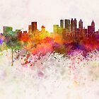Atlanta skyline in watercolor background by paulrommer