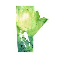 Watercolor Map of Manitoba, Canada in Green - Giclee Print of My Own Watercolor Painting Photographic Print