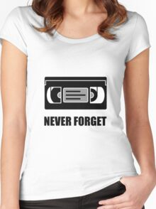VHS Cassette Tape Never Forget Women's Fitted Scoop T-Shirt