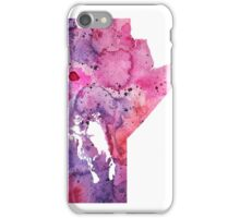 Watercolor Map of Manitoba, Canada in Pink and Purple - Giclee Print of My Own Watercolor Painting iPhone Case/Skin