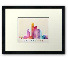 Los Angeles landmarks watercolor poster Framed Print