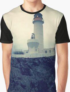 Moody Fair Isle South lighthouse Shetland Graphic T-Shirt