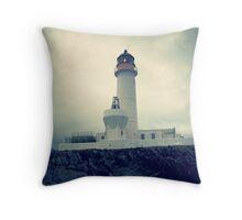 Moody Fair Isle South lighthouse Shetland Throw Pillow