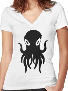 Black Octopus Women's Fitted V-Neck T-Shirt
