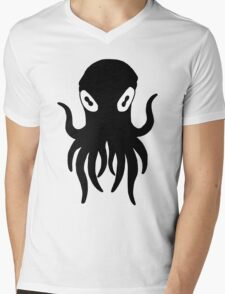 Black Octopus Mens V-Neck T-Shirt