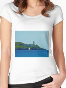 Bressay lighthouse & Sail Boat Shetland Women's Fitted Scoop T-Shirt