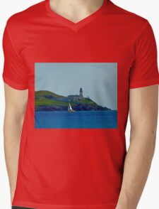 Bressay lighthouse & Sail Boat Shetland Mens V-Neck T-Shirt