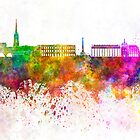 Bordeaux skyline in watercolor background by paulrommer