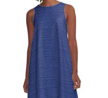 Deep Ultramarine Wood Grain Texture Color Accent A-Line Dress