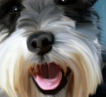 Miniature Schnauzer Water Color Art Painting Sticker