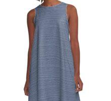 Stonewash Wood Grain Texture Color Accent A-Line Dress