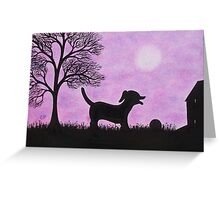Dog and Ball Silhouette with Tree, House and Moon Greeting Card