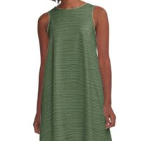 Vineyard Green Wood Grain Texture Color Accent A-Line Dress