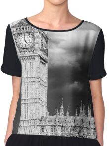 Storm Clouds Gather over Big Ben and the Houses of Parliament Chiffon Top
