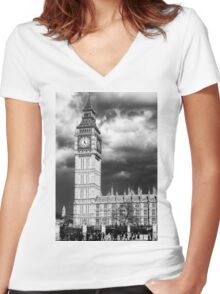 Storm Clouds Gather over Big Ben and the Houses of Parliament Women's Fitted V-Neck T-Shirt