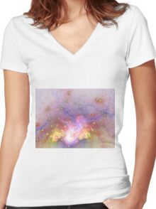 Galactic - Abstract Fractal Artwork Women's Fitted V-Neck T-Shirt