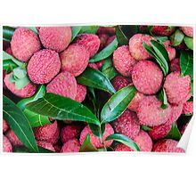 Close-up of red fresh Lychee fruits in Thailand market Poster