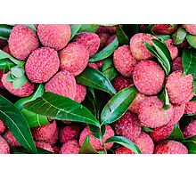 Close-up of red fresh Lychee fruits in Thailand market Photographic Print
