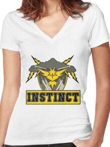 Pokemon Go Team Instinct Logo Women's Fitted V-Neck T-Shirt