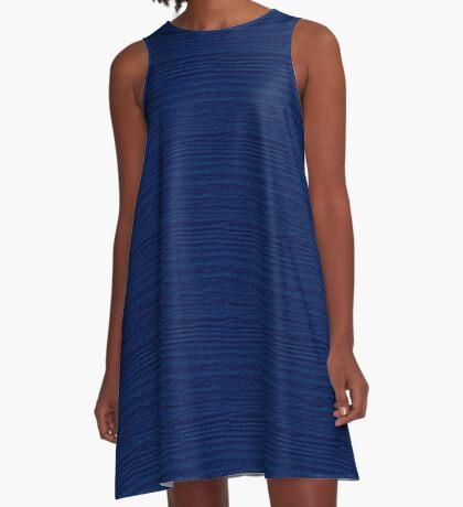 Cool Black Wood Grain Texture Color Accent A-Line Dress