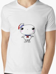 Kawaii Chibi Cute Stay Puft Marshmallow Man Ghostbusters Mens V-Neck T-Shirt
