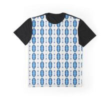 Acrylic Blue Stripes Graphic T-Shirt
