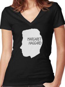 Margaret Haggard Logo - White Women's Fitted V-Neck T-Shirt