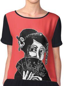 Red and Black Geisha Illustration Chiffon Top