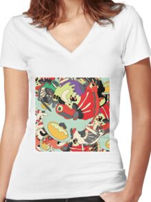 crabby catcher Women's Fitted V-Neck T-Shirt