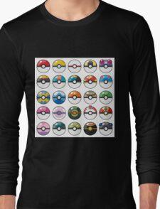 Pokemon Pokeball White Long Sleeve T-Shirt