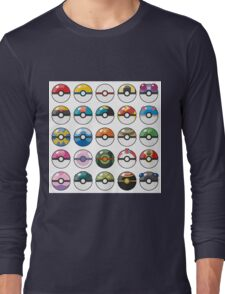 Pokemon Pokeball White Long Sleeve T-Shirt
