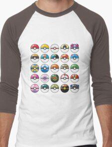 Pokemon Pokeball White Men's Baseball ¾ T-Shirt
