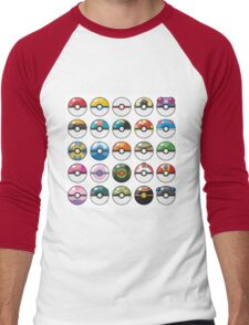 Pokemon Pokeball White Men's Baseball ¾ T-Shirt