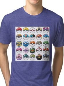 Pokemon Pokeball White Tri-blend T-Shirt