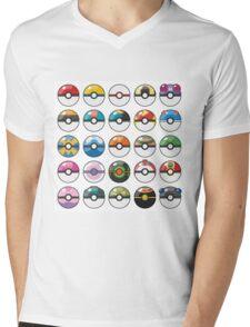 Pokemon Pokeball White Mens V-Neck T-Shirt