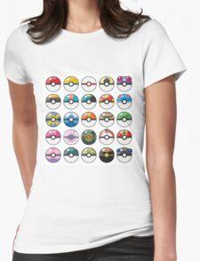 Pokemon Pokeball White Womens Fitted T-Shirt