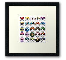 Pokemon Pokeball White Framed Print