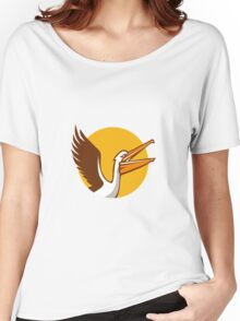 Pelican Flying Up Circle Retro Women's Relaxed Fit T-Shirt