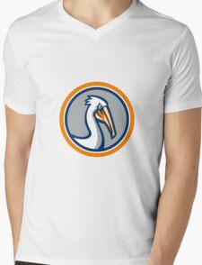 Pelican Head Circle Retro Mens V-Neck T-Shirt