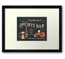 Chalkboard Sports Bar Sign Framed Print