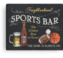 Chalkboard Sports Bar Sign Canvas Print