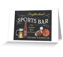 Chalkboard Sports Bar Sign Greeting Card