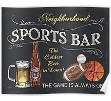 Chalkboard Sports Bar Sign Poster
