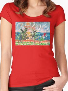 Red Boat Blue Sea Women's Fitted Scoop T-Shirt