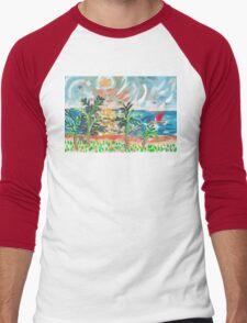 Red Boat Blue Sea Men's Baseball ¾ T-Shirt