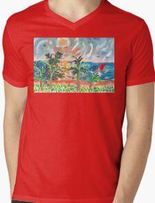 Red Boat Blue Sea Mens V-Neck T-Shirt