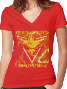 There is no shelter from the storm Pokemon go Women's Fitted V-Neck T-Shirt