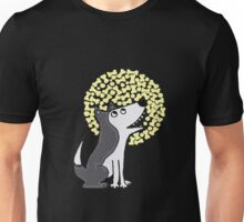 Funny Funky Gray Wolf and Moon Art Unisex T-Shirt