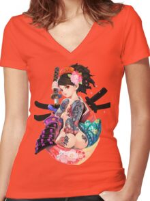 Yakuza Girl Women's Fitted V-Neck T-Shirt