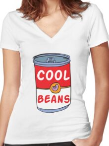 Can of Cool Beans Women's Fitted V-Neck T-Shirt